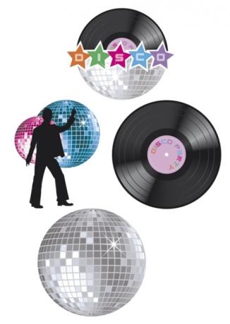 Partydekoration Disco 4 Teilig 70er 80er 90er Jahre