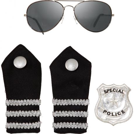 Polizist Polizei Set Spiegelbrille Schulterklappen Polizeimarke