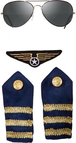 Pilot Piloten Flieger Set 4 teilig Brille Schulterklappen und Aufnäher
