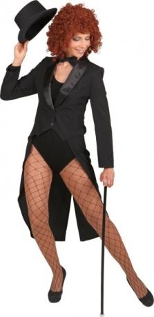 Damenfrack Frack Showfrack schwarz viele Größen Satin Schalkragen