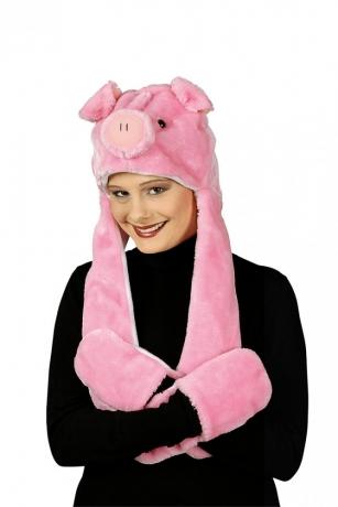 Schwein Ferkel Rosa Schweinchen Plüschmütze und Handwärmer