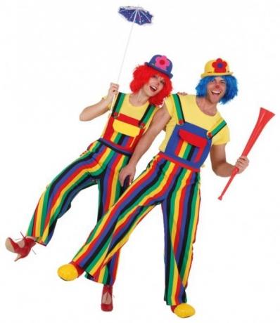 Clown Spassmacher gestreifte Clownhose Clownlatzhose Herren 46 - 60