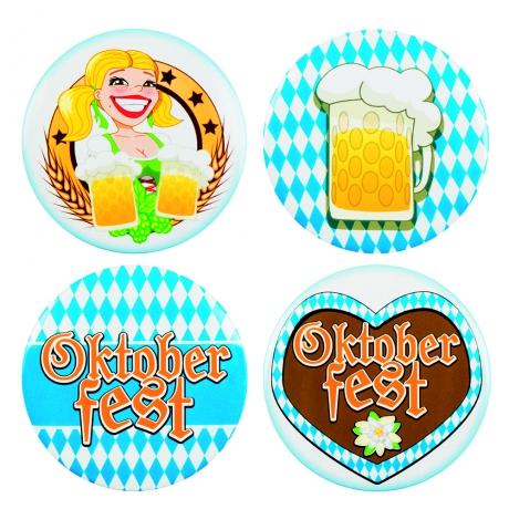4 x Anstecker Oktoberfest München Oktoberfestzubehör Bayrischer Abend