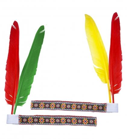 Indianerkopfschmuck Indianer Indianerstirnband mit 2 Federn