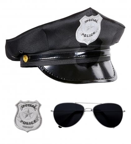 Polizei Set 3 teilig Polizeimütze Pilotenbrille und Polizeiabzeichen