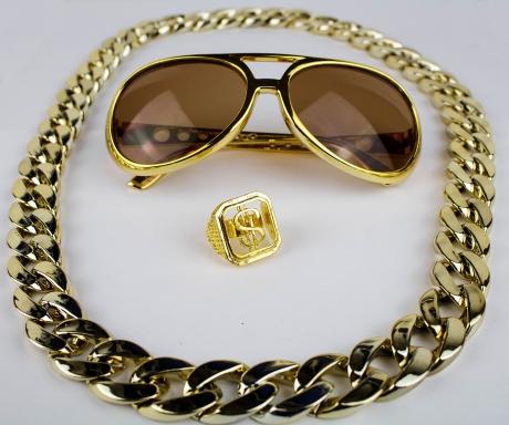 Proll Lude Macho Proleth Angeber Hip Hop Rapper Set Brille + Ring + Kette