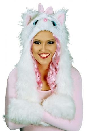Tiermütze Katzenmütze Plüschmütze + Handwärmer Modetrend Schmusekatze