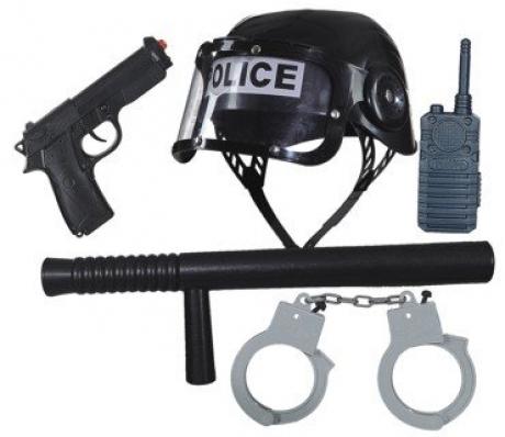 Polizei Polizeiset Polizeihelm Handschellen Schlagstock Pistole Funkgerät