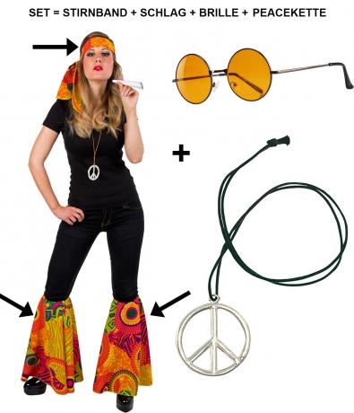 Hippieset bestehend aus Stirnband 2x Schlag Brille und Peacekette Sparpaket