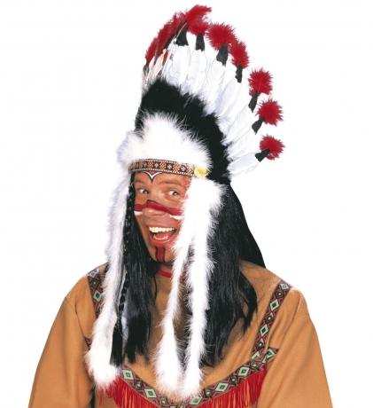 Indianer Indianerkopfschmuck Häuptling Wilder Stier mit langen Indianerfedern