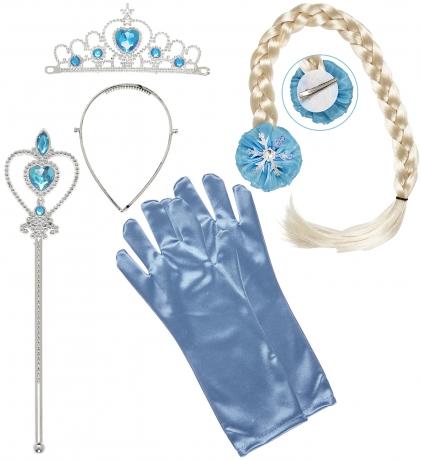 Set Prinzessin Fee Zubehör Frozen Diadem Zopf Handschuhe Prinzessinnenstab