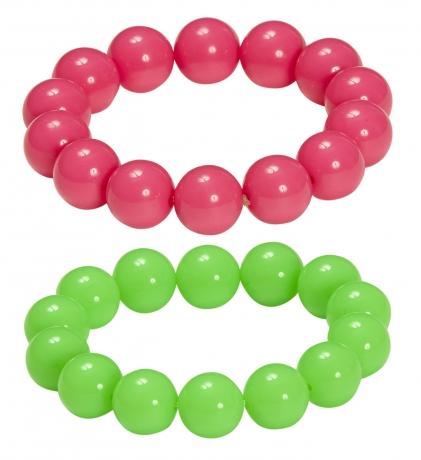 80er Jahre Neon große Perlen Armband Schmuck Set 2 Farben neonfarben