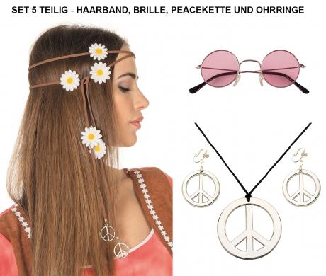 Hippieset Mit Blumenhaarband rosa Nickelbrille Peacekette und Ohrringen Sparset
