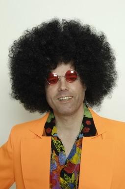 Afro Perücke 70er Jimi Jimmy schwarz mit Nickelbrille im Set
