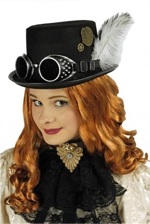 Steampunkhut Steampunkzylinder schwarz + Steampunkbrille Edelpunk