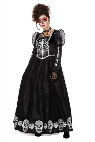 Dark Princess Halloweenkostüm Vampirin Skelett Geisterkleid