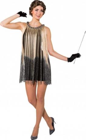 Charlestonkleid Fransenkleid 20er Jahre Kleid mit Handschuhen