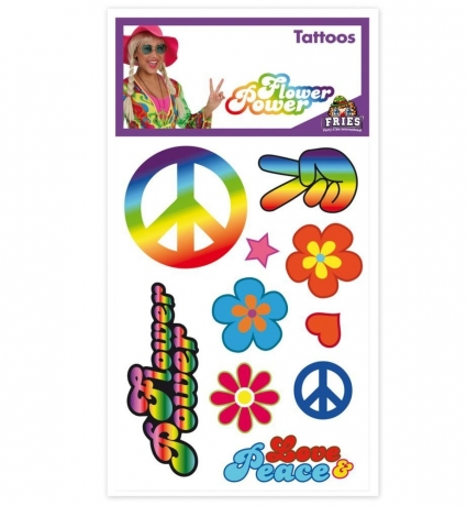 Hippie Tattoos Flower Power Motto 70er Jahre Schlagerparty