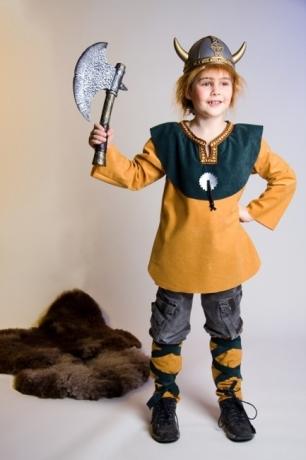 Wikinger Junge Kostüm mit Helm Karneval Fasching Party
