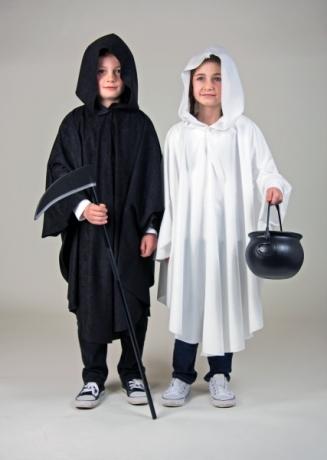 Kaputzenumhang Umhang mit Kaputze Kinder schwarz oder weiß