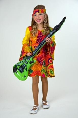 70er Jahre Hippie Mädchen Flower Power Kostüm für Kinderfasching