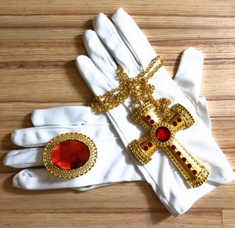 4 teiliges Schmuck-Set Nikolaus Weihnachtsmann Bischofkostüm