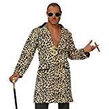 Hustler Rapper Leopardenmantel Leopardenjacke Zigarre und Brille Lude