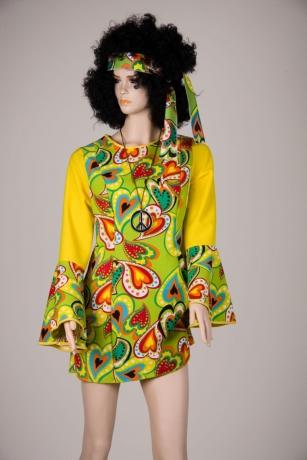 70er jahre hippiekleid mottoparty hippie partykleid mit stirnband. Black Bedroom Furniture Sets. Home Design Ideas