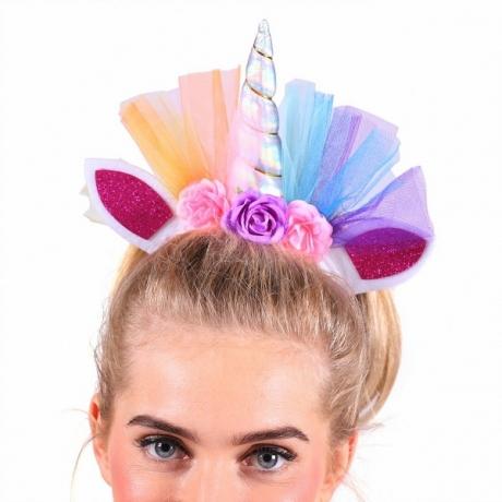 Haarreif Einhorn mit Tüll und Glitter Fabelwesen Unicorn Zauberpferd