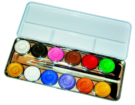 12 Farben Metall Palette Schminkfarben Faschingsfarben Karnevalszubehö