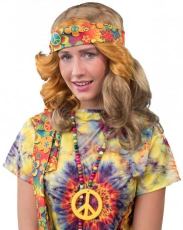 Hippie Set Stirnband und Peacekette Peacezeichen 70er Jahre