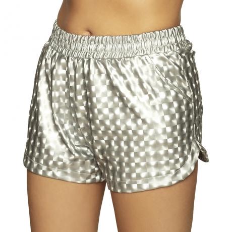Hotpants Disco Look kurze Hose im Sport Out Fit silber