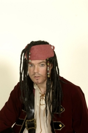 Pirat Jack Tuch mit Haar u. Schmuck Karneval Fasching