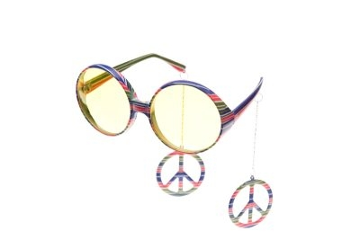 Brille Peace mit Ohrringen Fasching Karneval Party