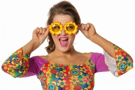 Blumenbrille Flower Power Partybrille 70er Jahre Spassbrille