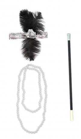 20er Jahre Set Charleston Perlenkette Zigarettenspitze und Stirnband