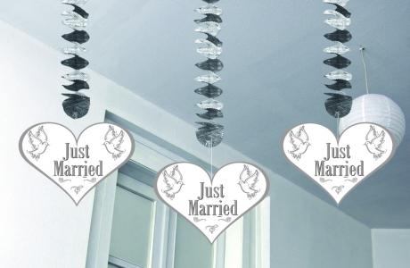 Hängedeko Rotor-Spiralen Just Married 3 Stück Hochzeit