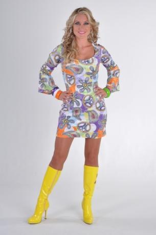 Minikleid 70s cool 70er Jahre Damenkleid Hippiekleid Fasching Mottopar