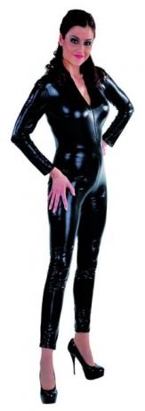 Catsuit Halloween schwarz Einteiler Overall Damenkostüm
