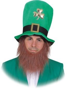 St. Patricks Day Hut mit angenähtem Bart Faschingshut Kopfbedeckung