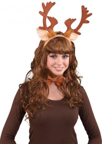 Rentier Elchgeweih Rudolph im Set Haarreif und Fliege
