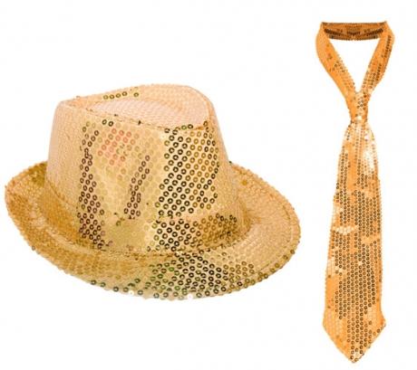80er Party Disco Out-Fit Hut mit Krawatte gold Karneval
