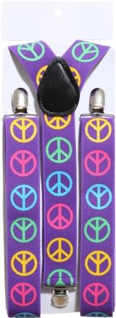 Peace Hippie Hosenträger mit Peacezeichen 70er Jahre