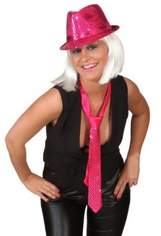 Paillettenhut pink Trilby Partyhut Show Revue Glitter