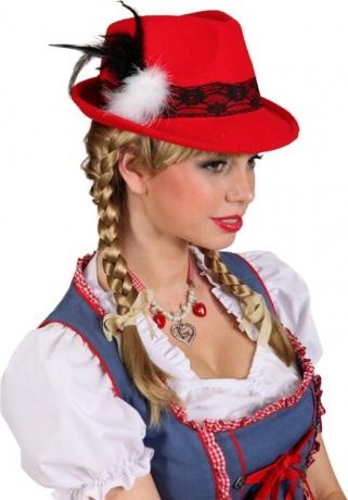 Trachtenhut rot Bayernhut Trachtenmode Oktoberfest Wiesn