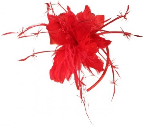 Haarreif mit Federn rot Accessoires Fasching Party Feier Fete Kostümzu
