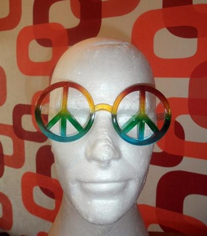 Hippie Brille Peace Regenbogen 70er Jahre Schlager Themen Mottoparty