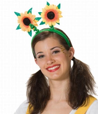 Sonnenblume als Haarreif Flower Power Hippie Karneval