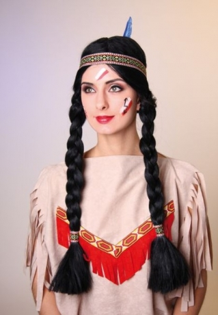 Indianerin Perücke Karneval Fasching Kostüm Party