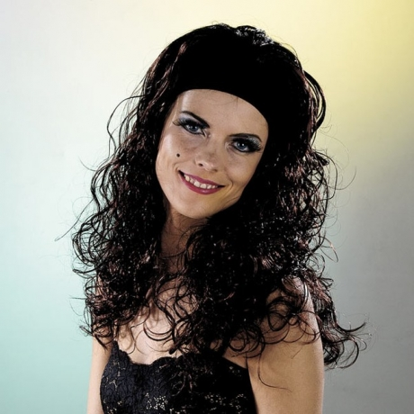 Langhaarperücke mit Stirnband viele Farben Karneval